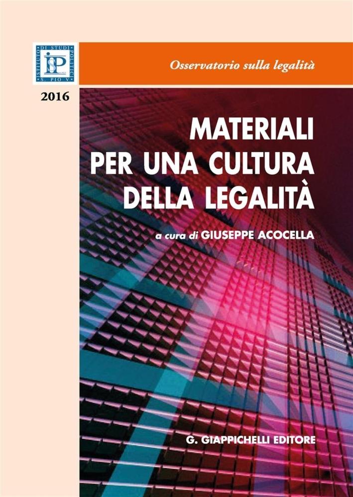 Materiali per una cultura della legalità 2016.