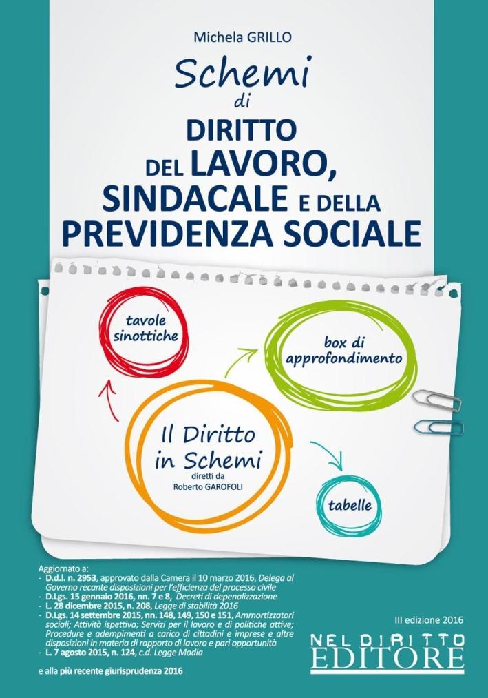 Schemi di diritto del lavoro sindacale e delle previdenza sociale.