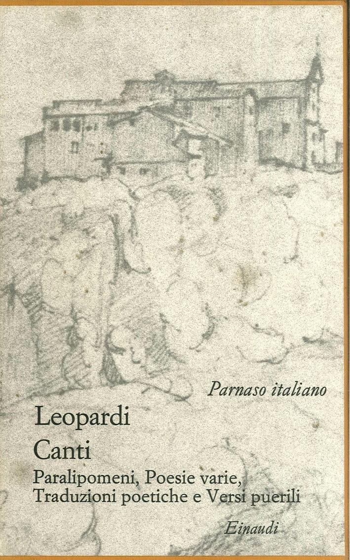 Giacomo Leopardi. Canti.