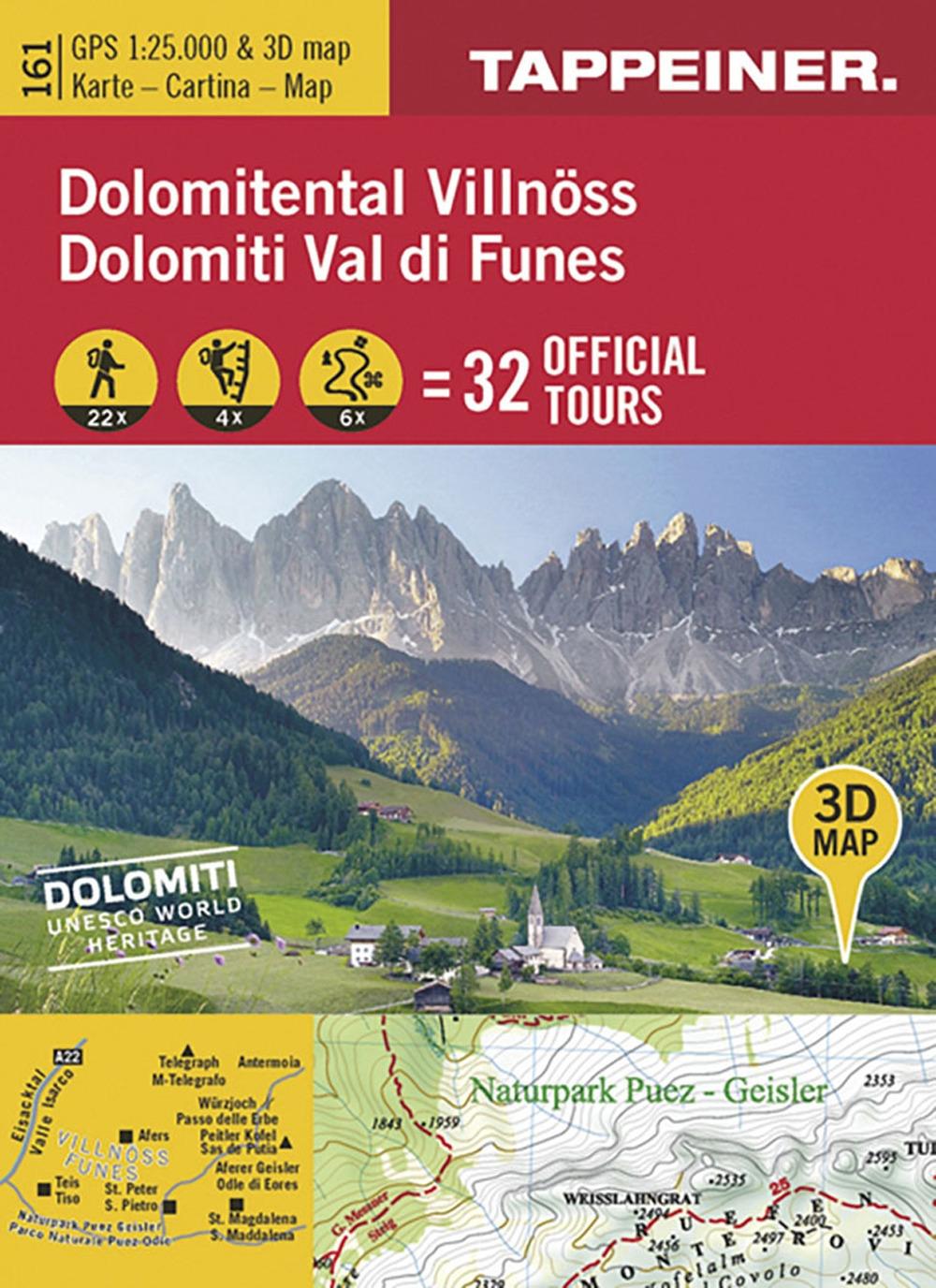 Dolomiti Val di Funes. Cartina topografica. Carta panoramica 3D.