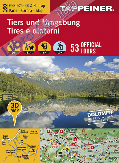 Tires e dintorni. Cartina topografica. Carta panoramica 3D
