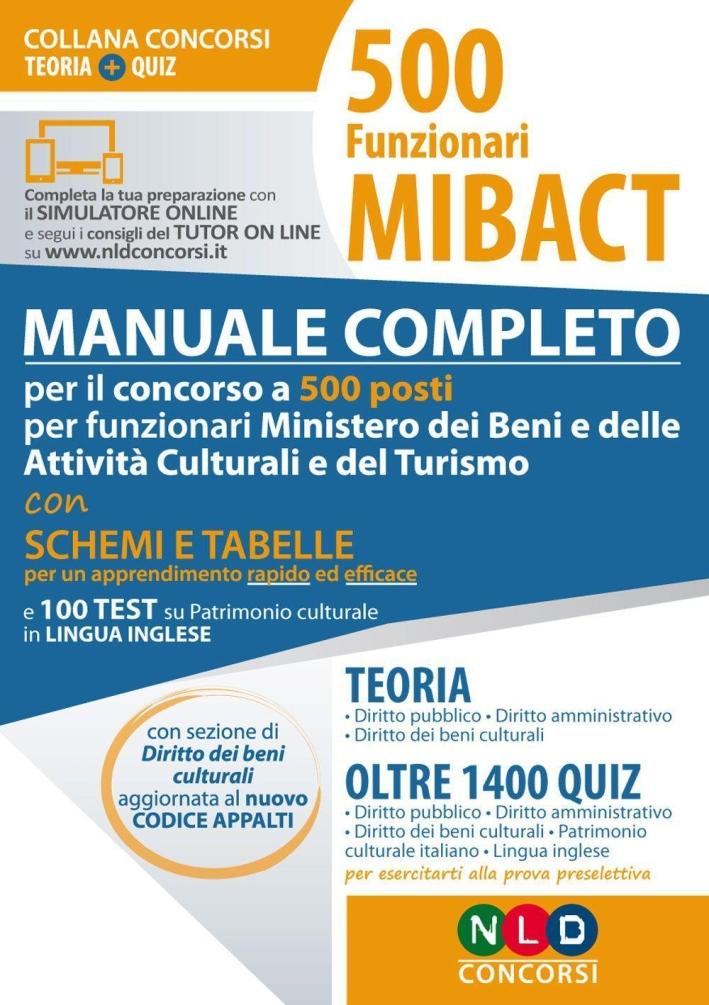 500 funzioni MIBACT. Manuale completo teoria e quiz