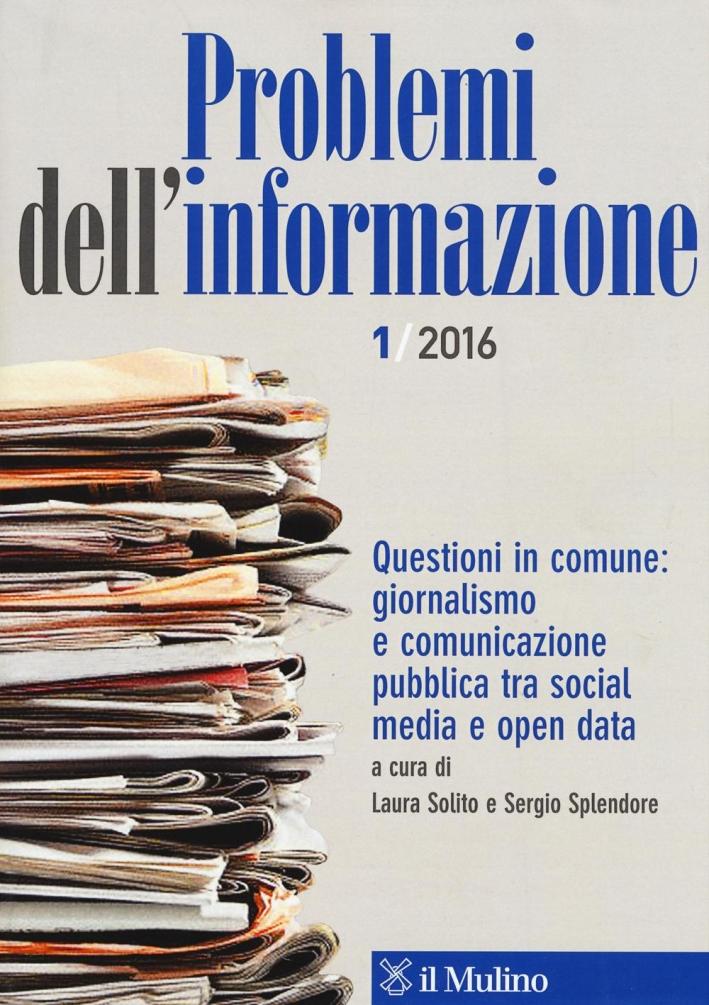 Problemi dell'informazione (2016). Vol. 1.