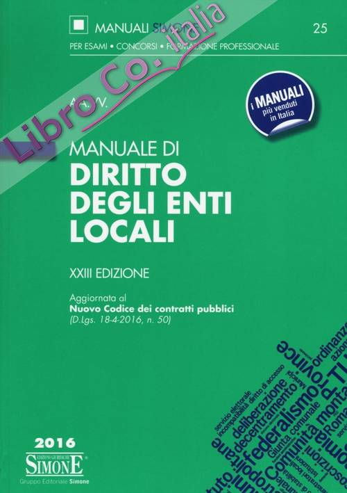 Manuale di diritto degli enti locali.