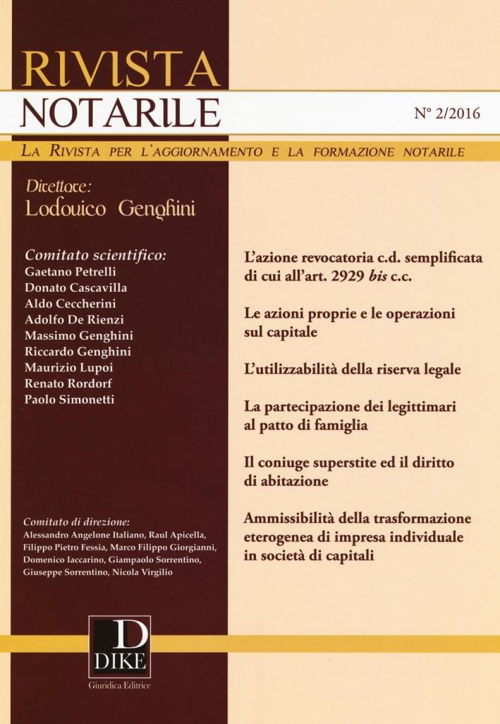 Rivista notarile (2016). Vol. 2.