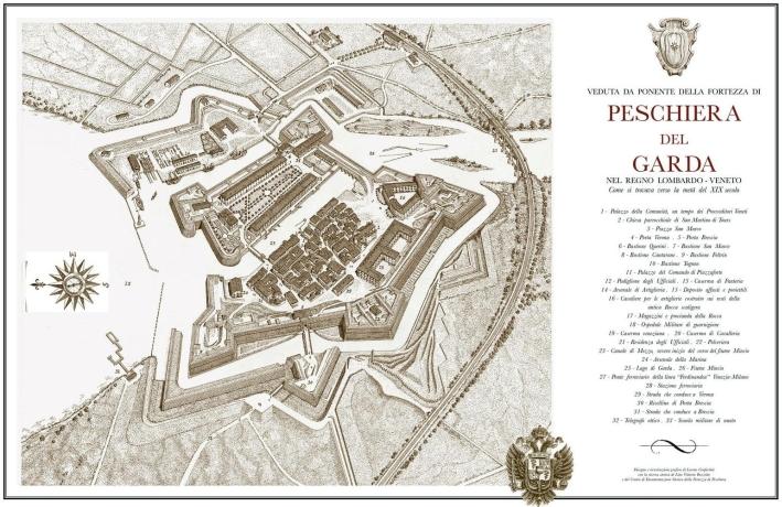 Veduta da Ponente della fortezza di Peschiera del Garda. Nel regno Lombardo-Veneto.