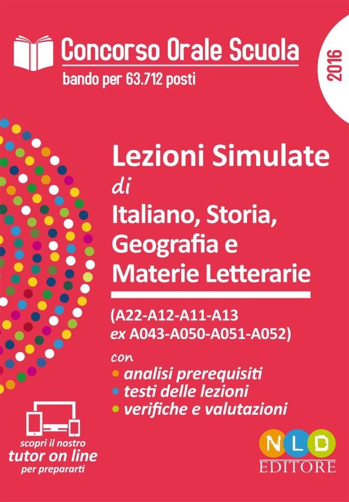 Lezioni simulate di italiano, storia, geografia e materie letterarie. Concorso orale scuola. Simulatore prova orale.