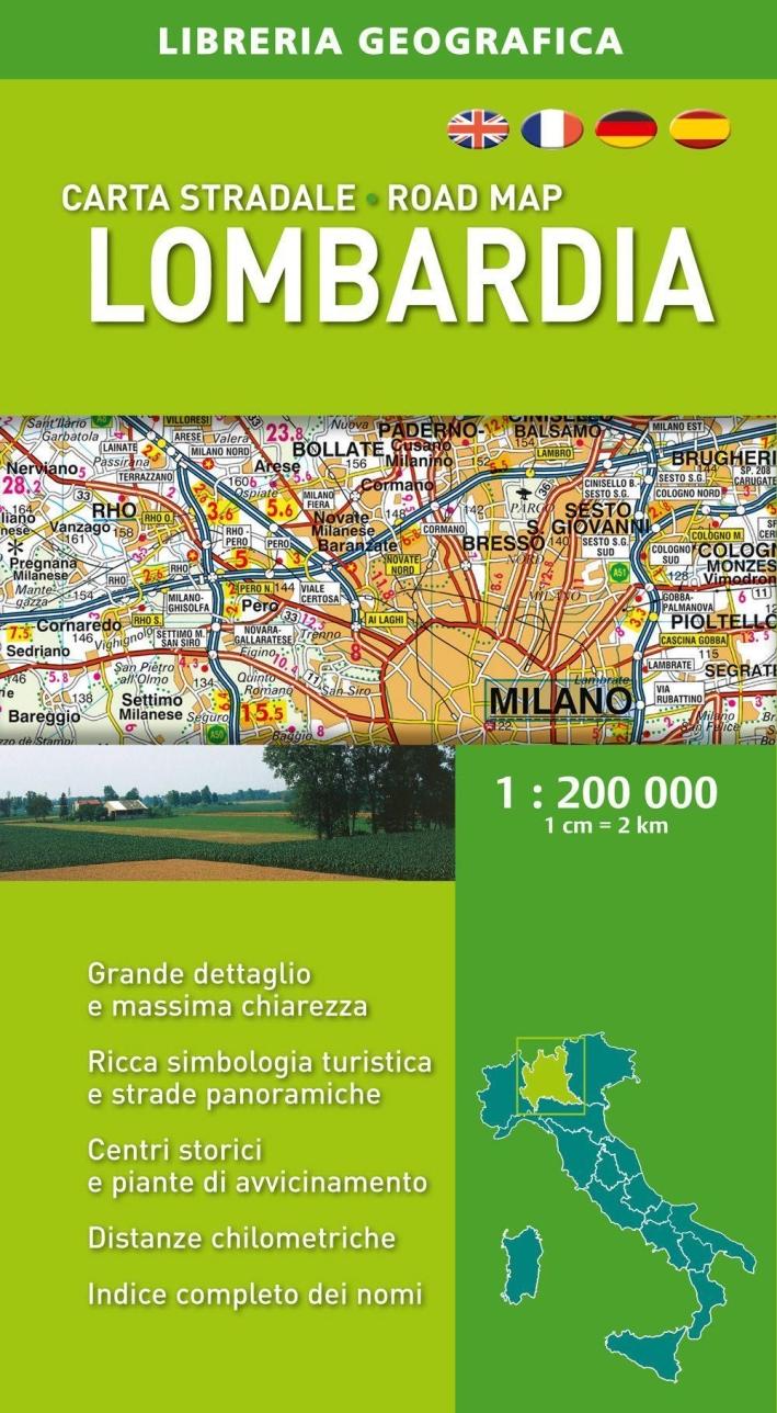 Lombardia. Carta stradale 1:200.000.