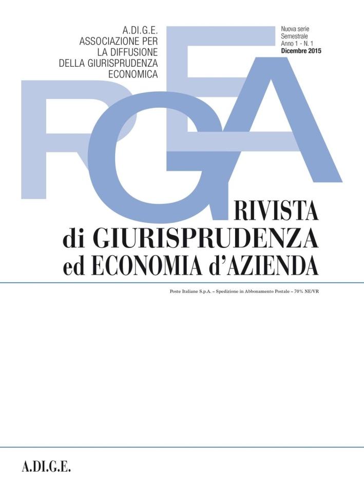 Rivista di giurisprudenza ed economia d'azienda (2015). Vol. 1.