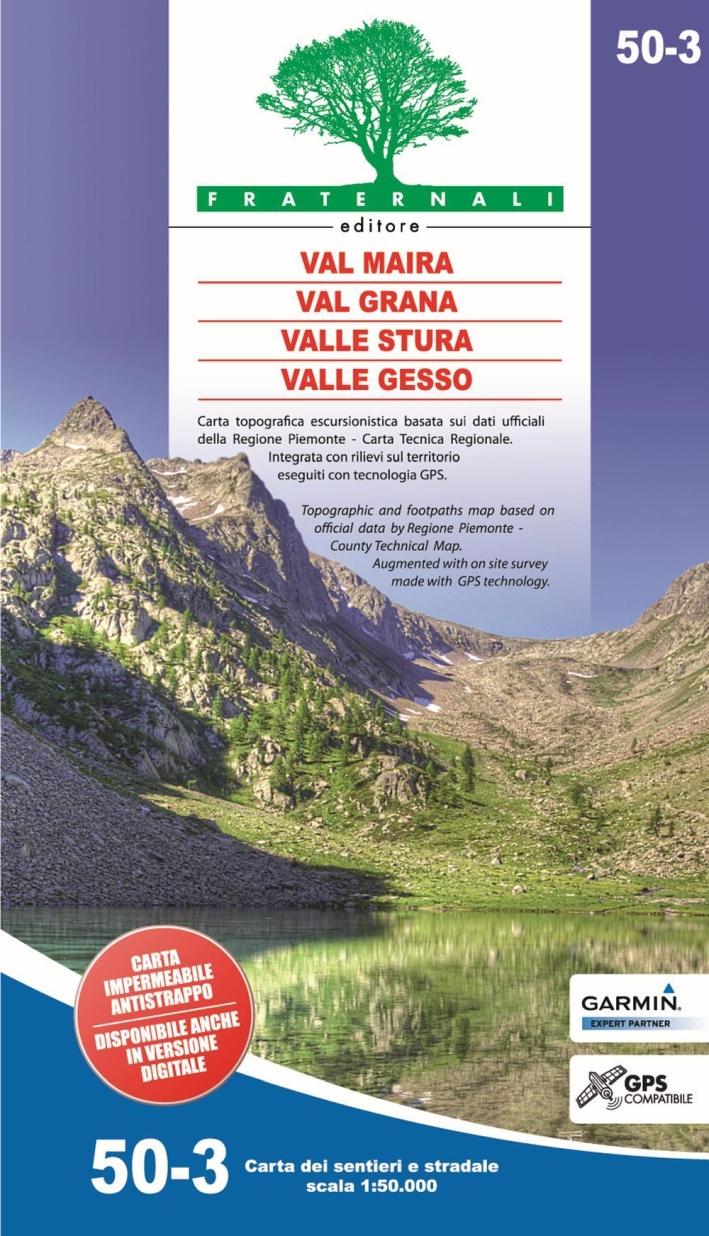 Carta N. 50.3. Val Maira, Grana, Stura e Gesso scala 1:50.000 (impermeabile e antistrappo).