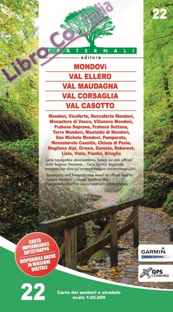 Carta N. 22. Mondovì Val Ellero Val Maudagna Val Corsaglia Val Casotto, Scale 1:25000 (Impermeabile e Antistrappo)