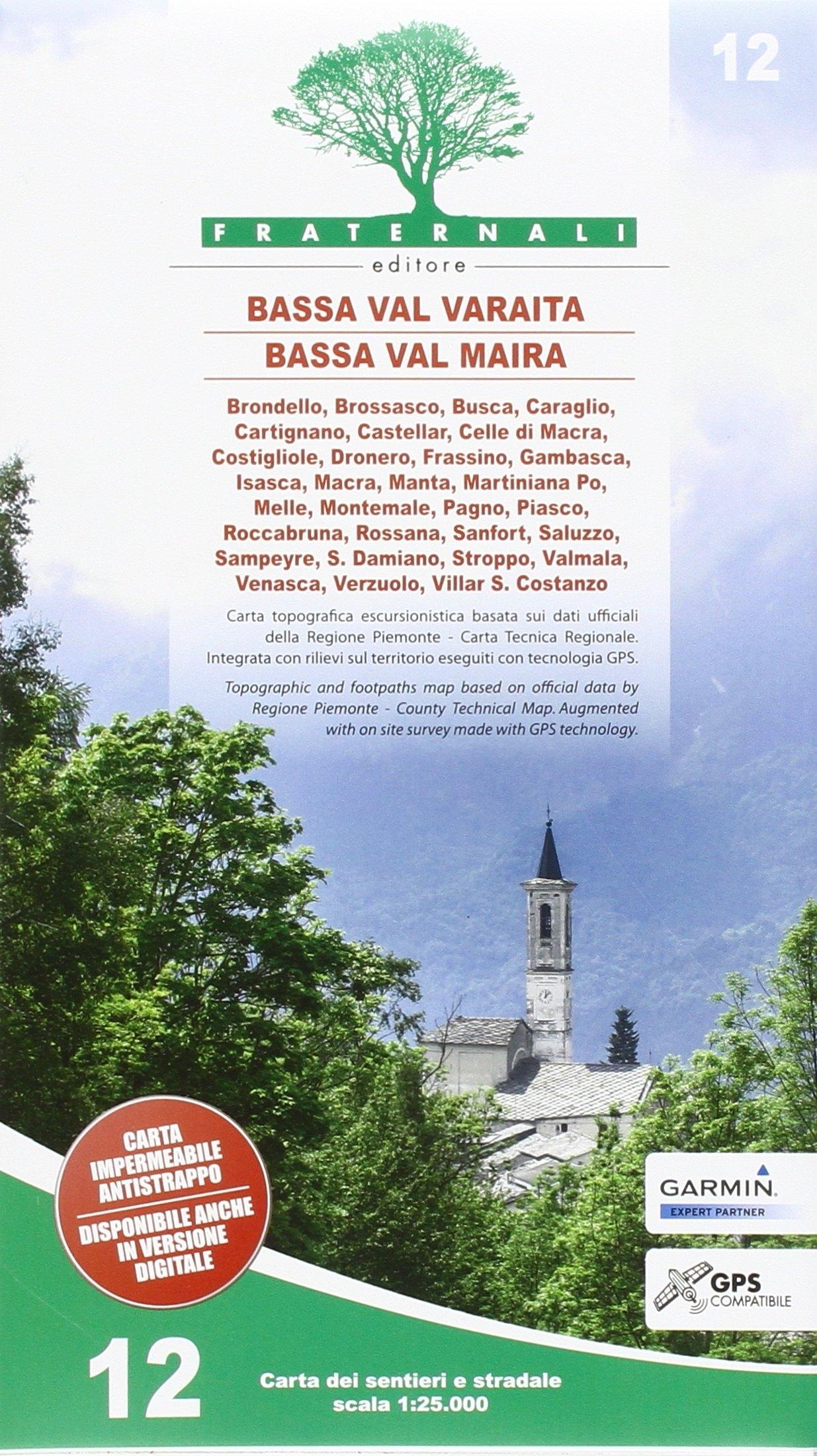 Carta N. 12. Bassa Val Varaita, Bassa Val Maira. Carta Sentieri e Stradale 1:25.000.