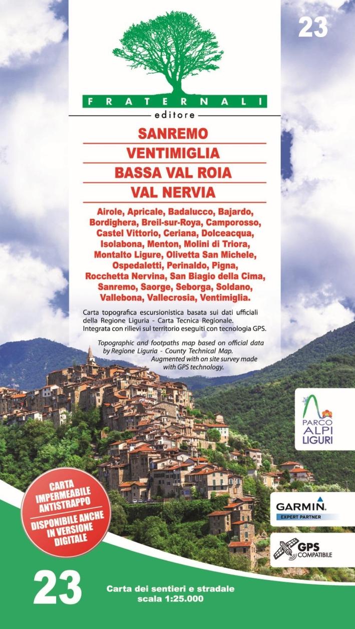 Carta N.23. Sanremo Ventimiglia Bassa Val Roia Val Nervia. Scale 1:25.000 (Impermeabile e Antistrappo).