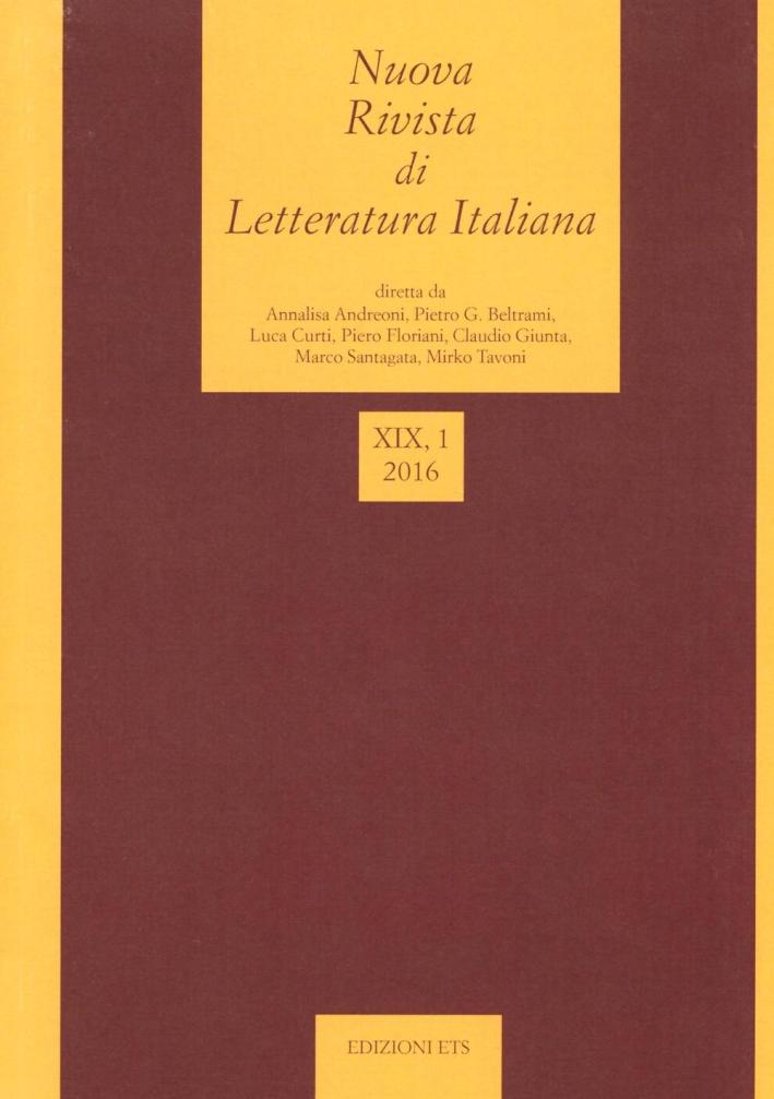 Nuova rivista di letteratura italiana (2016). Vol. 1.