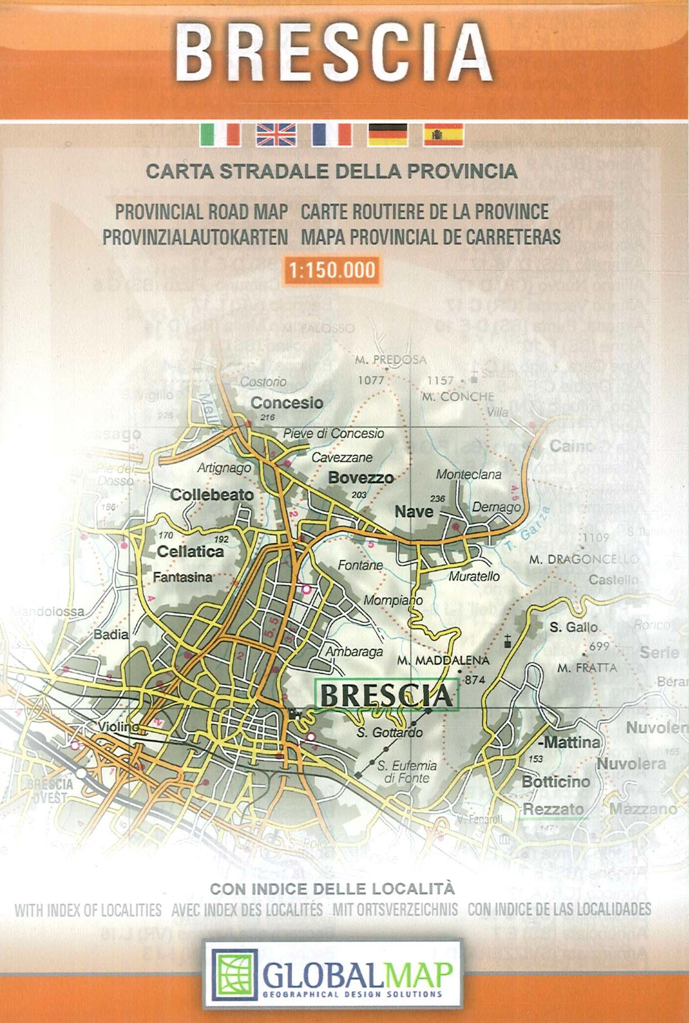 Brescia 1:150.000. Carta Stradale della Provincia. Provincial Road Map.