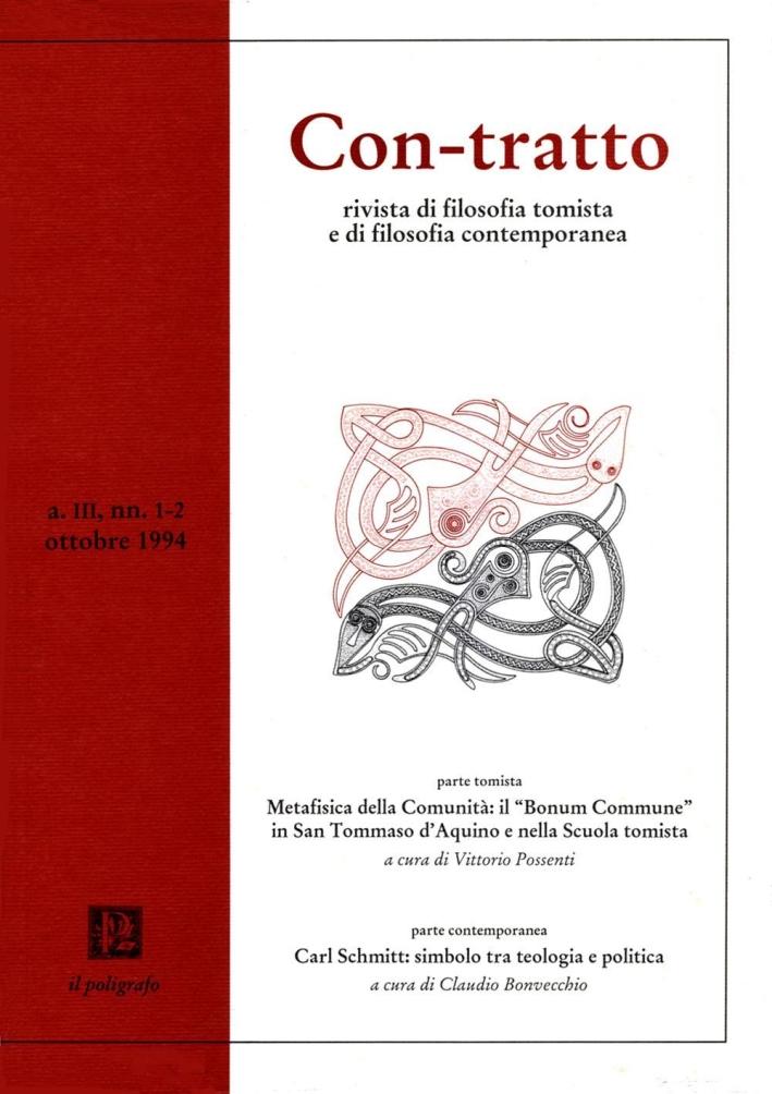 Con-tratto. Rivista di filosofia tomista e di filosofia contemporanea vol. 1-2 (1994)