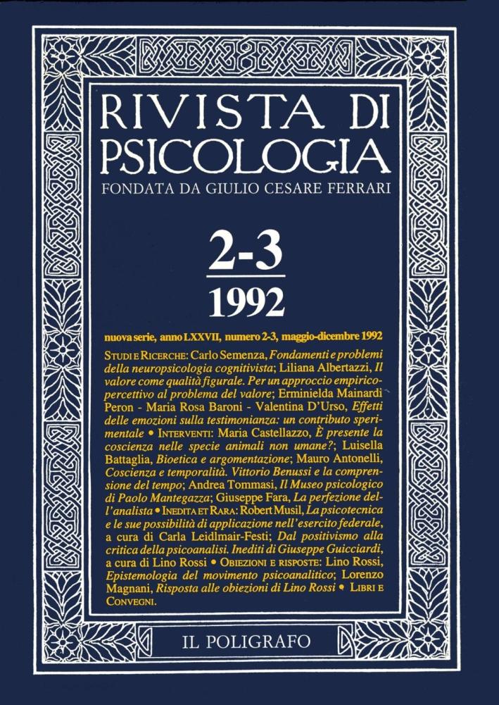 Rivista di psicologia. Vol. 2-3. Maggio-Dicembre 1992