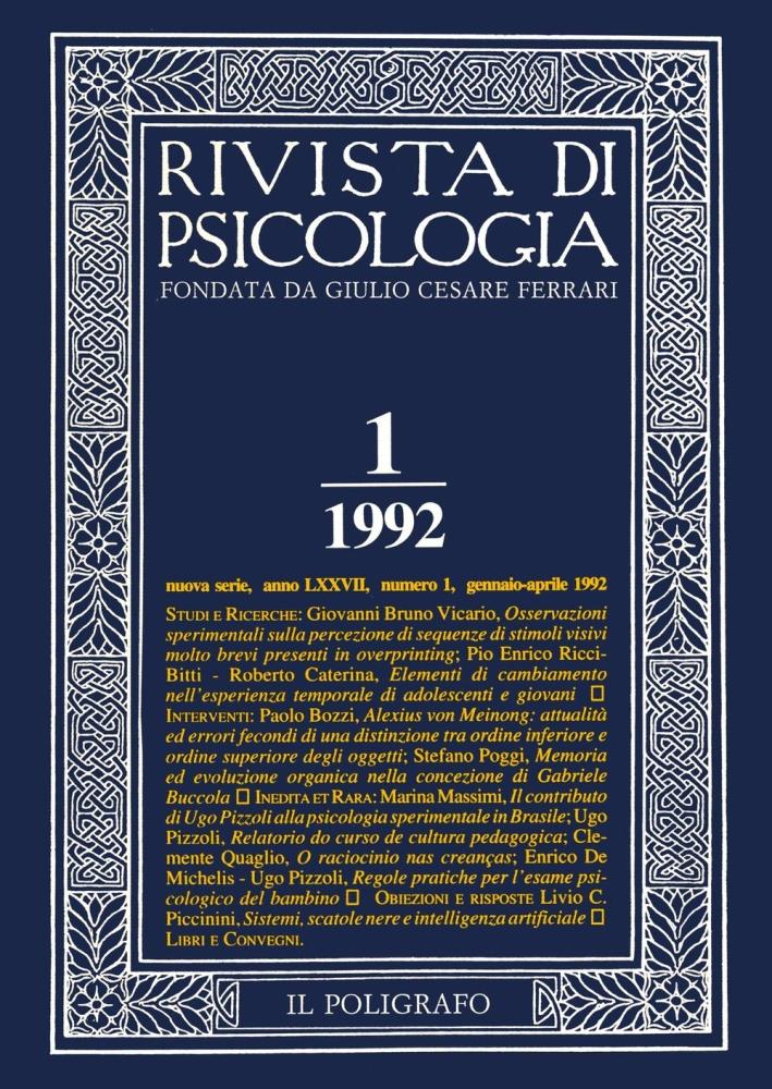 Rivista di psicologia. Vol. 1. Gennaio-Aprile 1992
