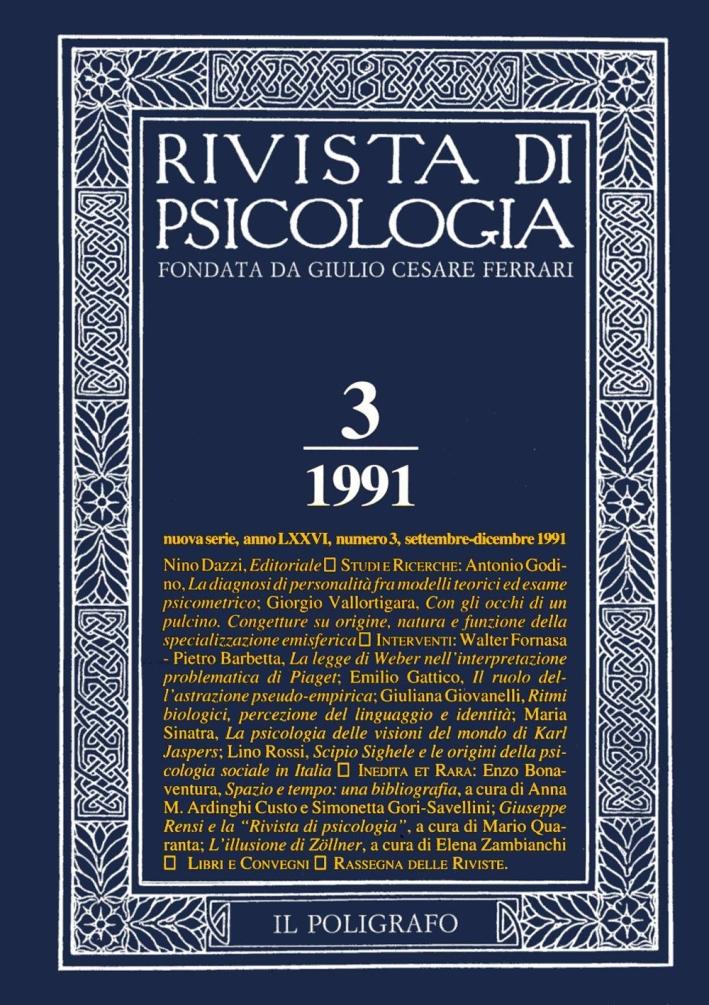 Rivista di psicologia. Vol. 3. Settembre-Dicembre 1991.