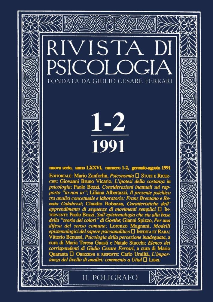 Rivista di psicologia. Vol. 1-2. Gennaio-Agosto 1991.