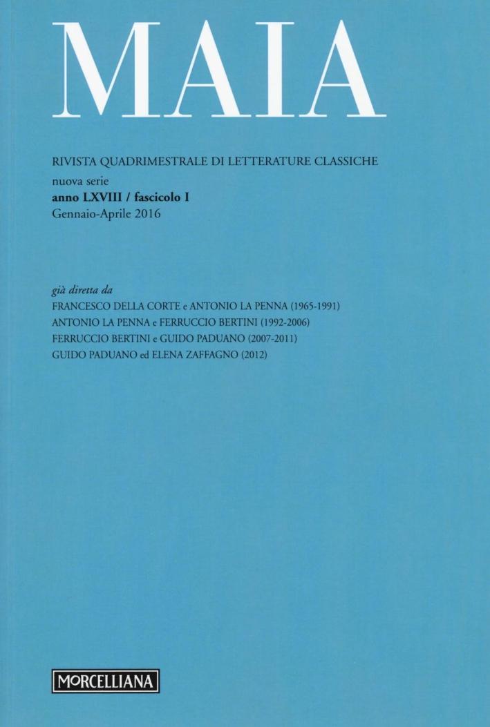 Maia. Rivista di letterature classiche (2016). Vol. 1.