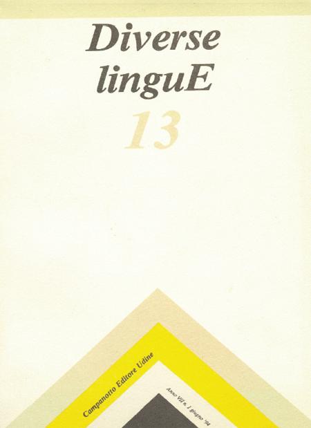 Diverse Lingue 13 - Rivista Semestrale delle Letterature Dialettali e delle Lingue Minori. Anno 7 Numero 1