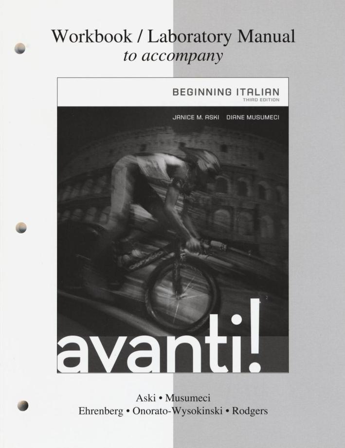 Workbook-laboratory manual to accompany Avanti! Beginning italian