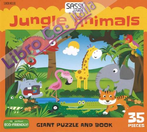 Jungle animals. Giant puzzle and book.