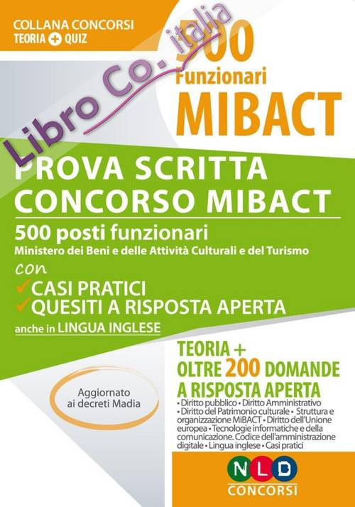 500 funzionari MIBACT. Prova scritta concorso MIBACT