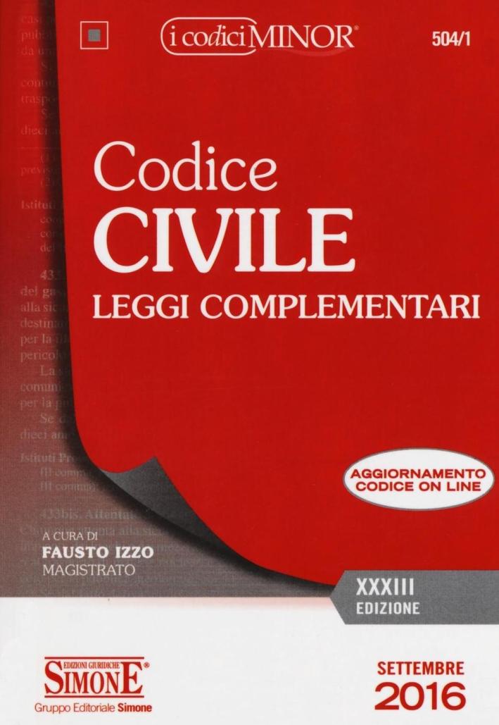 Codice civile. Leggi complementari. Ediz. minor. Con aggiornamento online