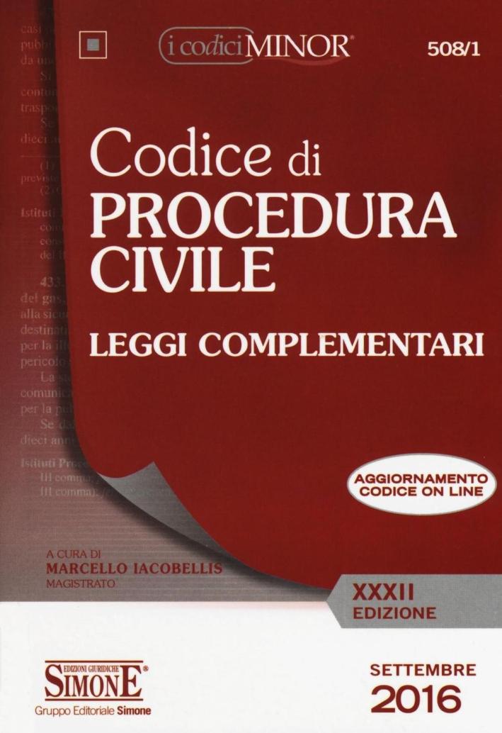 Codice di procedura civile. Leggi complementari. Ediz. minor. Con aggiornamento online.