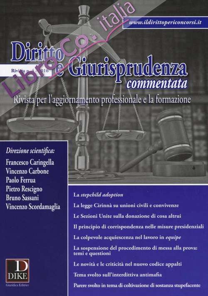 Diritto e giurisprudenza commentata (2016). Vol. 4.