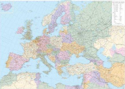 Cartina Europa + Est Politica 130x98 con Staffe. [riferimento 15]