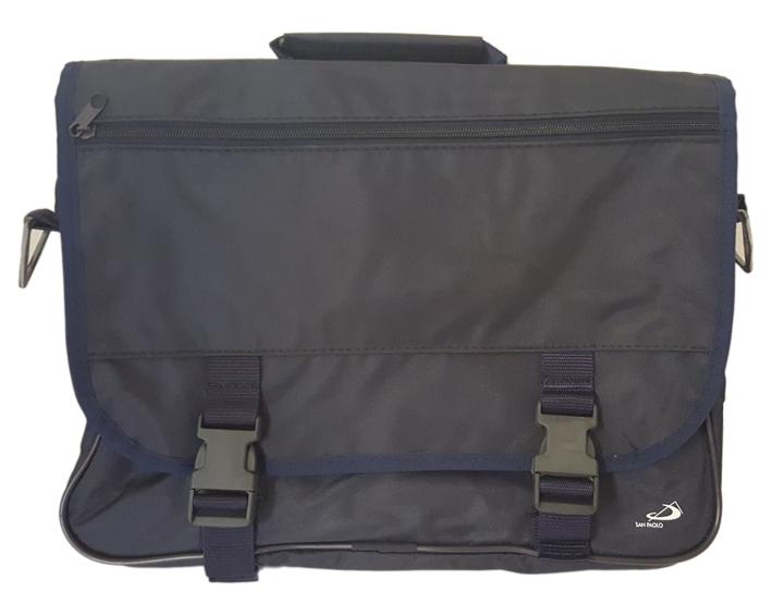 Borsa a Tracolla Modello Cartella - Blu in Nylon. San Paolo. Cm 40x30.