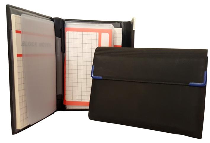 Rubrica e block notes con penna ed inserti per carte di credito