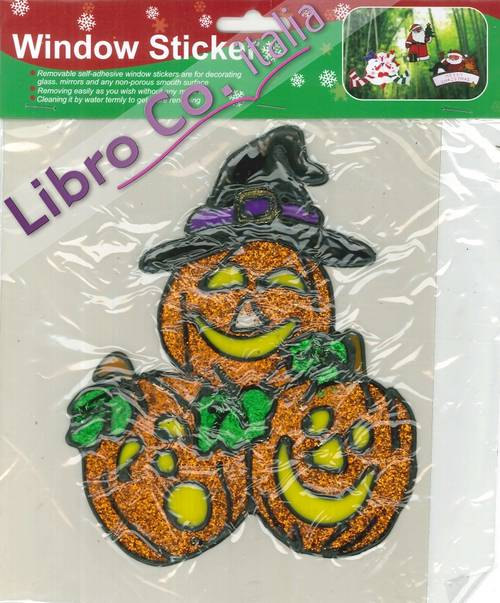 Window Sticker halloween. Adesivi per finestre tema halloween. Glitter Pumpkin/Glitter Zucca