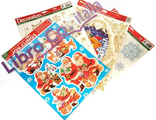 Windows stickers Decoration - Christmas. (4 Pz.) Adesivi Removibili per Finestre - Natale (Conf.4 Pz.).