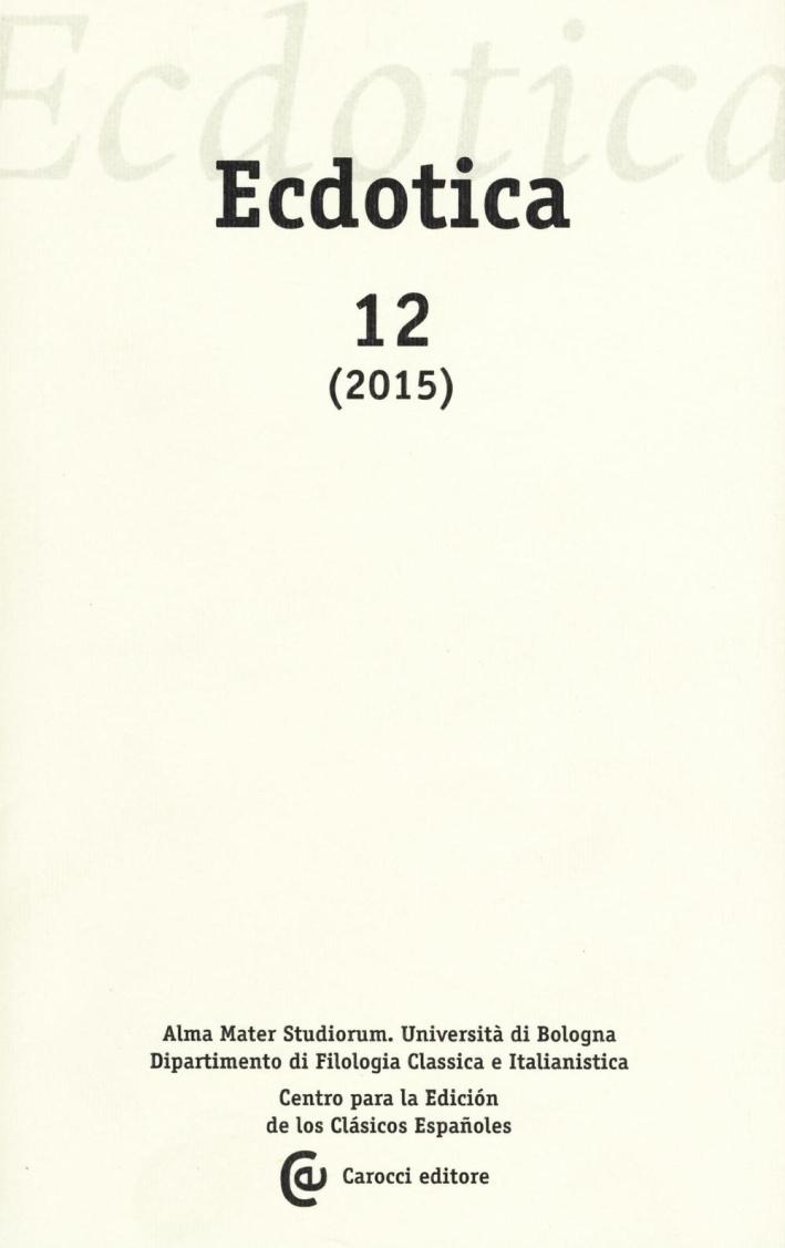 Ecdotica (2015). Vol. 12