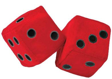 Peluche Dadi  Rosso-Nero. 9X9 cm