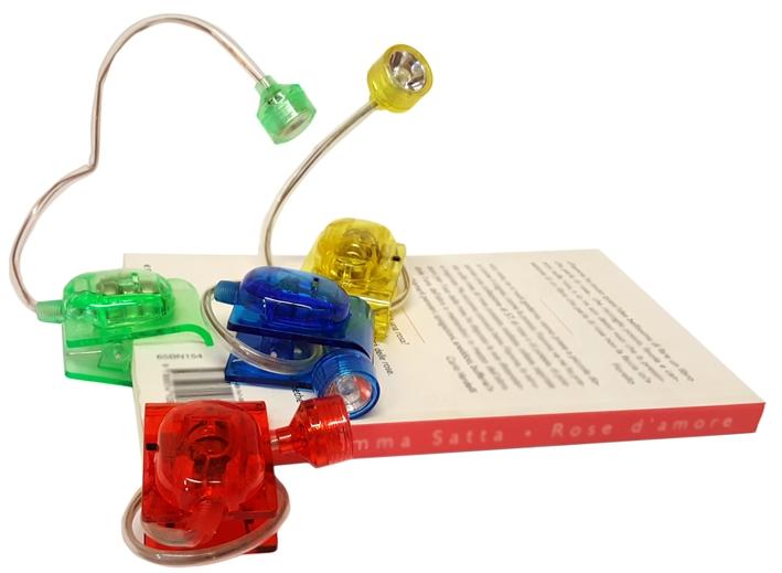 Luce da lettura per libro. Led book light. Confezione 4 pezzi. (4 colori).