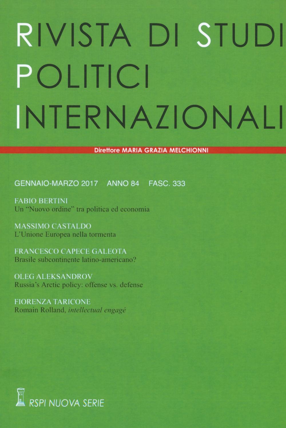 Rivista di studi politici internazionali (2017). Vol. 1