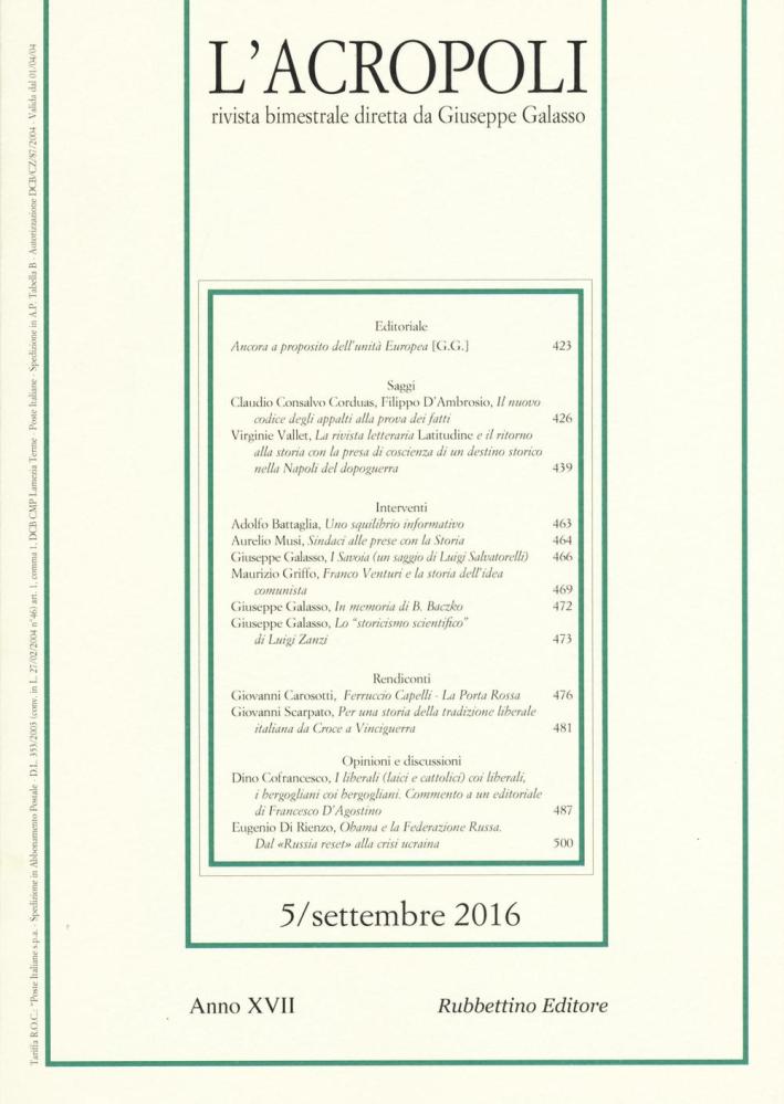 L'acropoli (2016). Vol. 5.