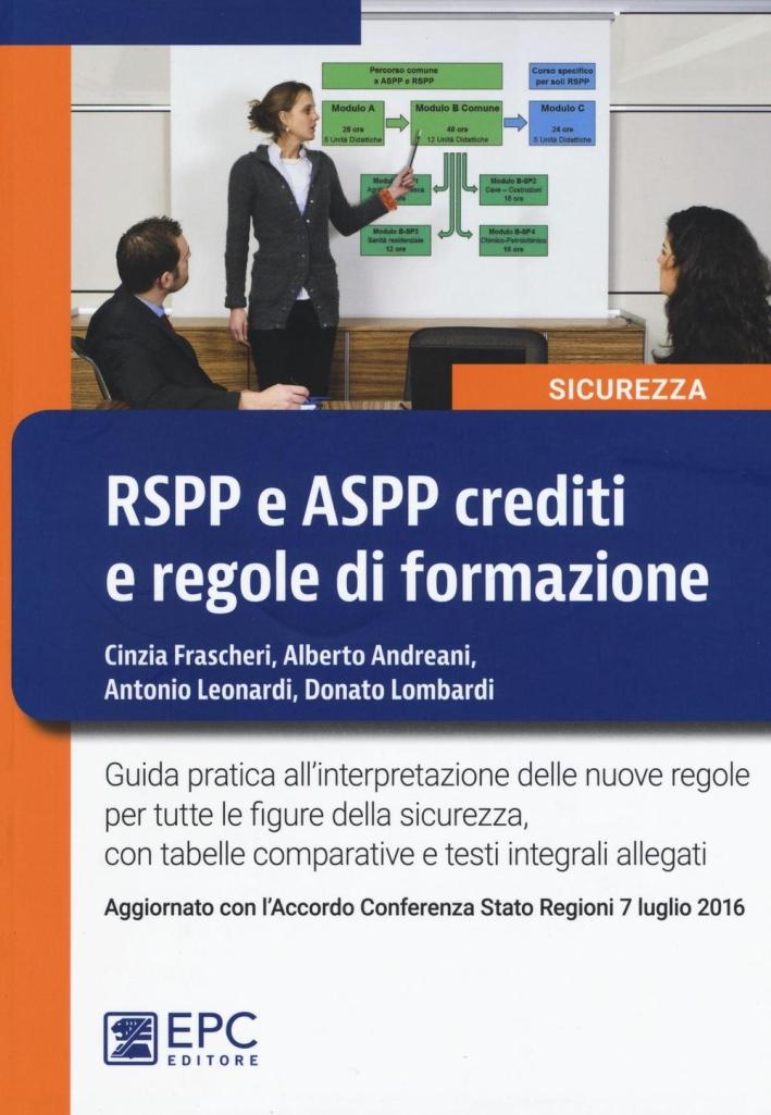 RSPP e ASPP crediti e regole di formazione.