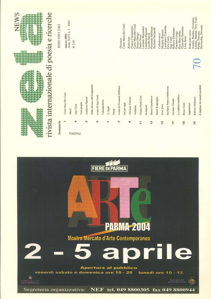 Zeta News. Rivista Internazionale di Poesia e Ricerche. 70. Anno XXVI. 1/2004.