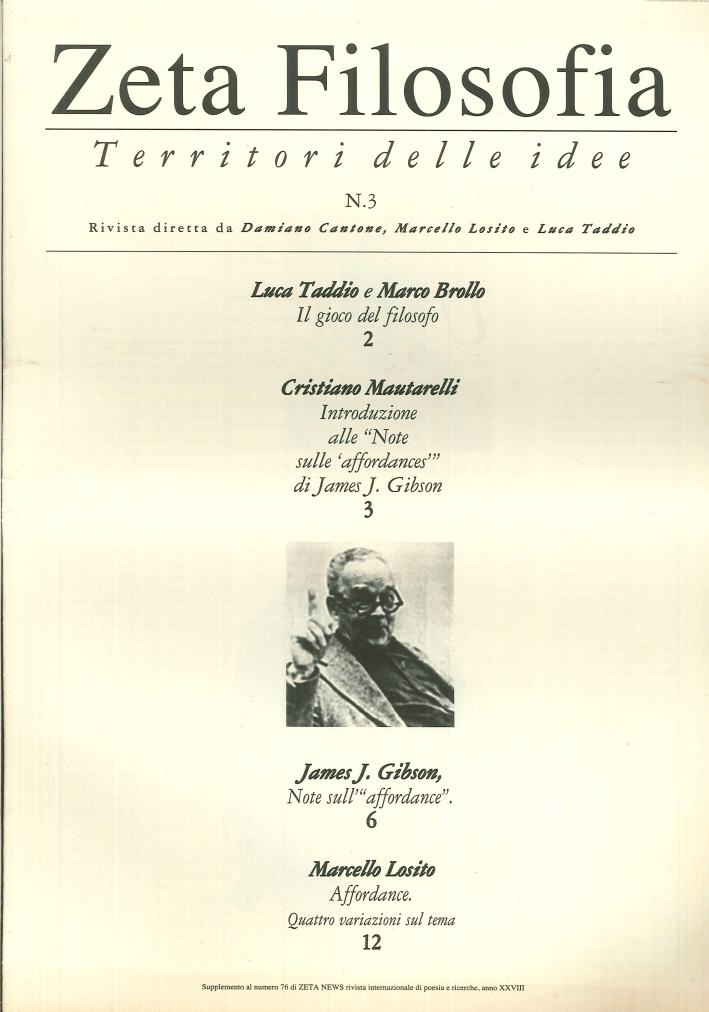 Zeta Filosofia. Territori delle Idee. N. 3. Supplemento al n. 76 di Zeta News Anno XXVIII.