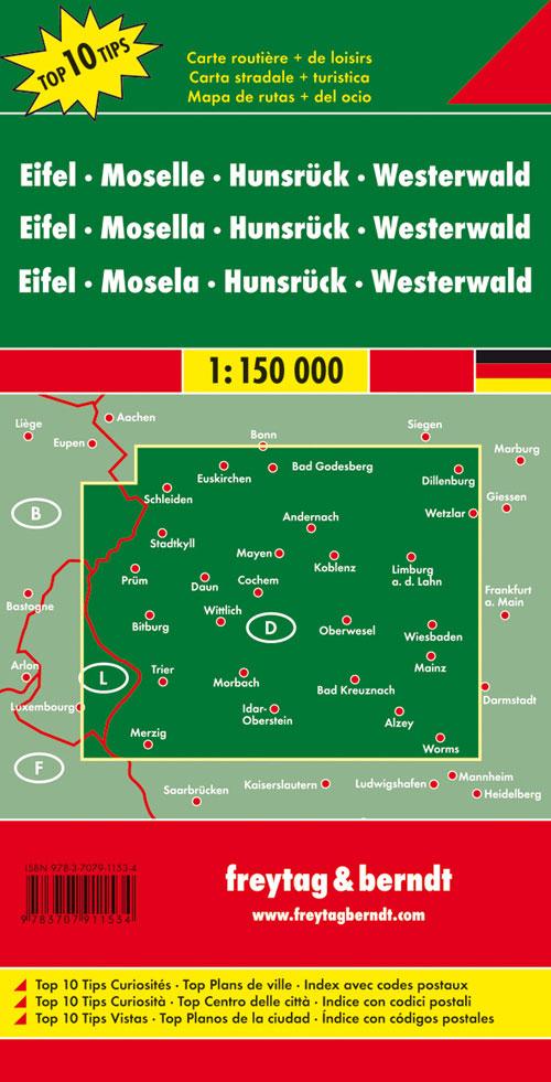 Eifel, Mosel, Hunsrück, Westerwald 1:150.000.