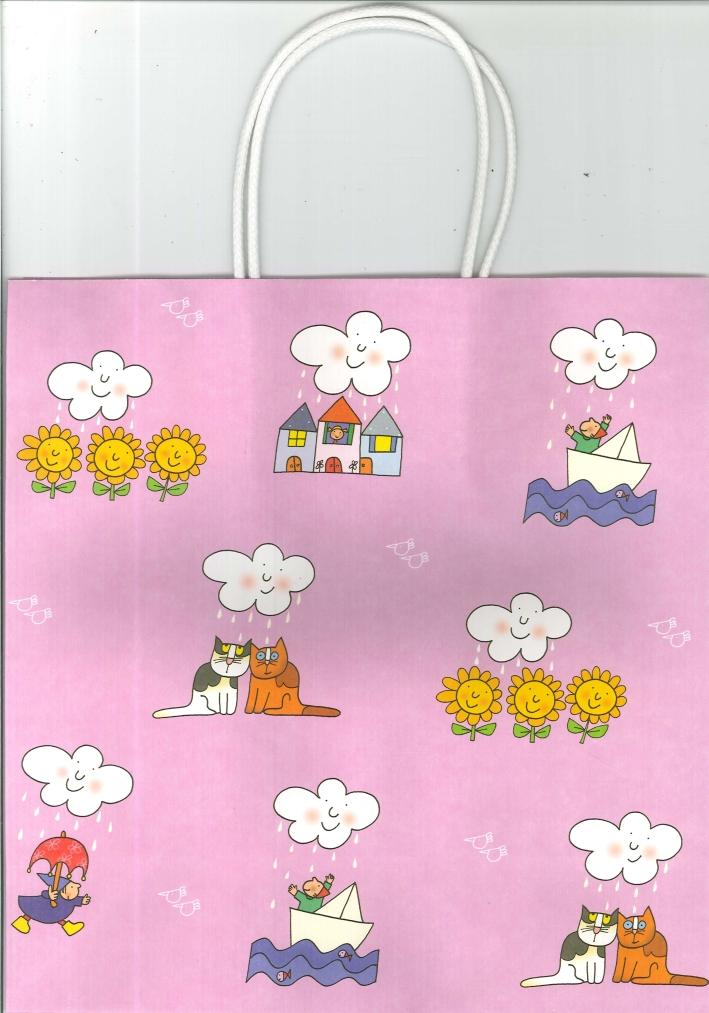 Sacchetti Regalo. Con.5 - Fantasia Lilla con Casine e Nuvole Cm 35x25.