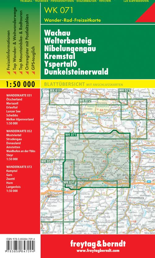Wachau, Welterbesteig, Nibelungengau, Kremstal, Yspertal, Dunkelsteinerwald 1:50.000