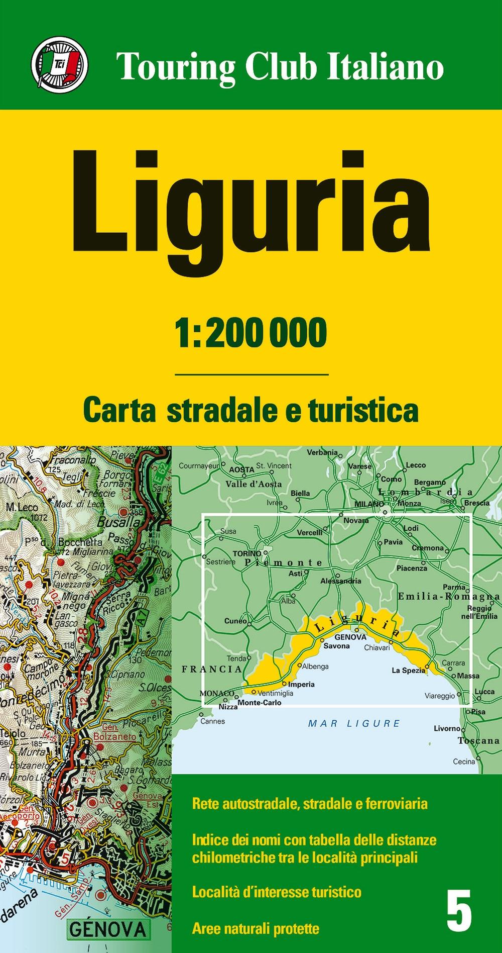 Liguria 1:200.000. Carta stradale e turistica