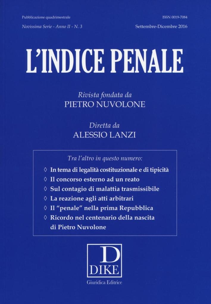 L'indice penale (2016). Vol. 3